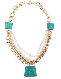 Fashion Green Trapezoid Shape Decorated Pearls Necklace