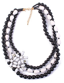 Fashion Black Flower Decorated Multi-layer Necklace