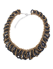 Fashion Black Beads Decorated Multi-layer Necklace