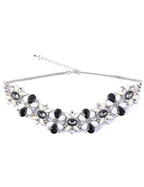 Fashion Black Oval Shape Diamond Decorated Necklace