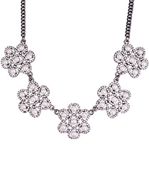 Fashion White Pearls&diamond Decorated Flower Shape Necklace