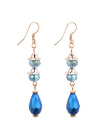 Fashion Blue Water Drop Shape Diamond Decorared Earrings