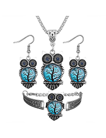 Vintage Light Blue Owl Shape Decorated Jewelry Set ( 3 Pcs )