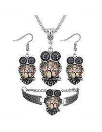 Vintage Multi-color Owl Shape Decorated Jewelry Set ( 3 Pcs )