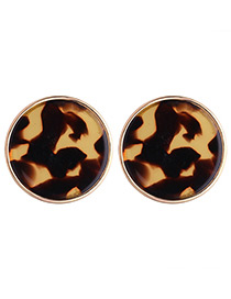 Fashion Brown Round Shape Decorated Earrings