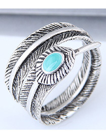 Vintage Silver Color+blue Leaf Shape Decorated Ring