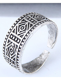 Vintage Silver Color Geometry Shape Decorated Ring