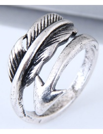 Vintage Antique Silver Pure Color Decorated Feather Shape Ring