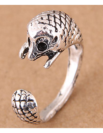 Vintage Antique Silver Hedgehog Shape Design Opening Ring