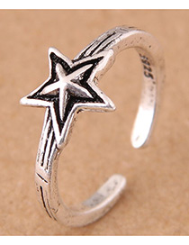 Vintage Antique Silver Star Shape Decorated Opening Ring