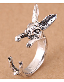 Vintage Antique Silver Rabbit Shape Design Opening Ring