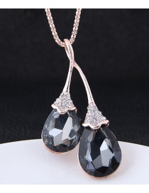 Fashion Gun Black Water Drop Shape Diamond Decorated Necklace