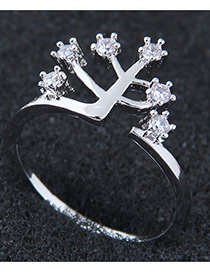 Fashion Silver Color Tree Shape Design Opening Ring