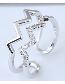 Fashion Silver Color Wave Shape Design Opening Ring