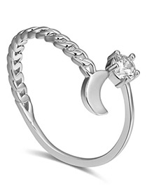 Fashion Silver Color Moon Shape Deocrated Ring