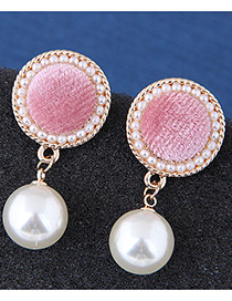 Fashion Pink Round Shape Design Pearl Earrings