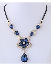Fashion Blue Waterdrop Shape Design Flower Necklace