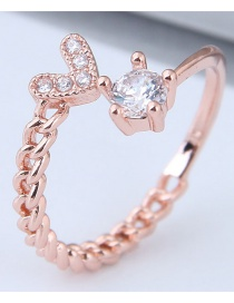 Fashion Gold Color Heart Shape Decorated Ring