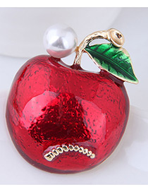 Fashion Red Apple Shape Decorated Brooch