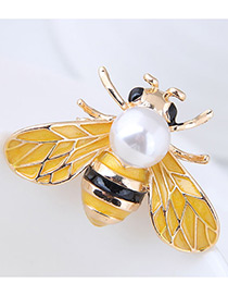 Fashion Yellow Bee Shape Decorated Brooch