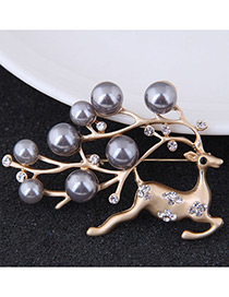 Fashion Gold Color+gray Deer Shape Decorated Brooch