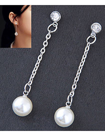 Fashion Silver Color Pearls Decorated Long Earrings