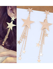 Fashion Gold Color Stars Shape Decorated Long Earrings