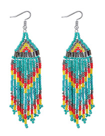 Fashion Green+yellow Beads Decorated Tassel Design Earrings