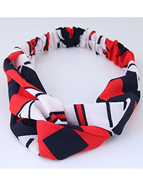 Sweet Red Flag Pattern Pattern Decorated Wide Hair Band