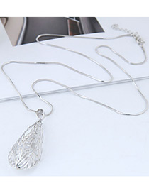 Fashion Silver Color Hollow Out Design Pure Color Necklace