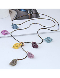 Fashion Multi-color Hollow Out Design Leaf Necklace
