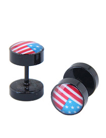 Fashion Black National Flag Pattern Decorated Earrings