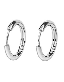 Fashion Silver Color Round Shape Decorated Earrings(12mm)