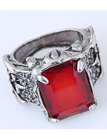 Vintage Red Sqaure Shape Decorated Ring