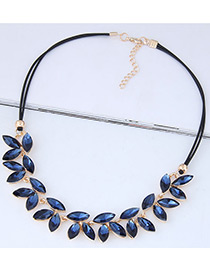 Fashion Navy Leaf Shape Decorated Necklace