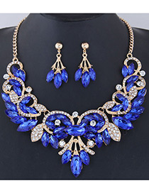 Fashion Sapphire Blue Leaf Shape Decorated Jewelry Set