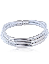 Elegant Silver Color Pure Color Design Multi-layer Bracelet