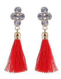 Elegant Red Diamond Decorated Long Tassel Earrings