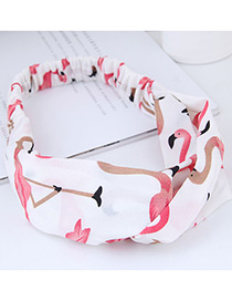 Sweet White Flamingo Pattern Decorated Wide Hair Band
