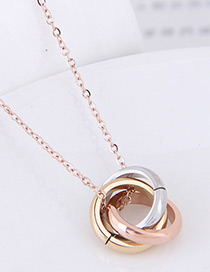 Elegant Multi-color Circular Rings Decorated Necklace