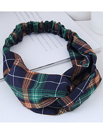 Fashion Navy Grid Pattern Decorated Hairband