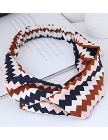 Fashion Navy+brown Sawtooth Pattern Decorated Hairband