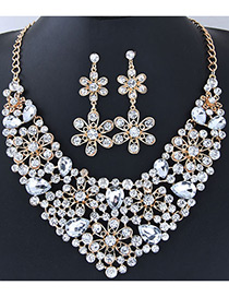 Fashion White Full Diamond Decorated Flower Shape Jewelry Sets