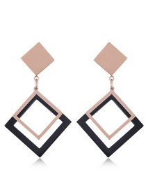 Fashion Rose Gold+black Hollow Out Design Square Earrings
