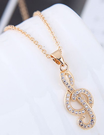 Elegant Gold Color Musical Note Pendant Decorated Necklace