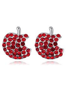 Fashion Red Apple Shape Decorated Earrings
