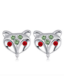 Fashion Green Fox Shape Decorated Earrings