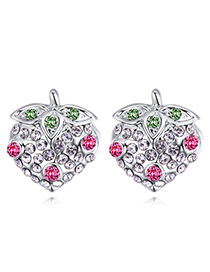 Fashion Plum Red Strawberry Shape Decorated Earrings