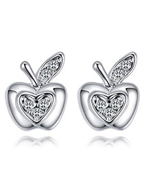 Fashion White Apple Shape Decorated Earrings