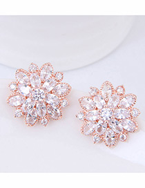 Fashion Rose Gold Flower Pattern Decorated Earrings